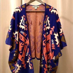 Boutique Aztec Tribal Print Cardigan